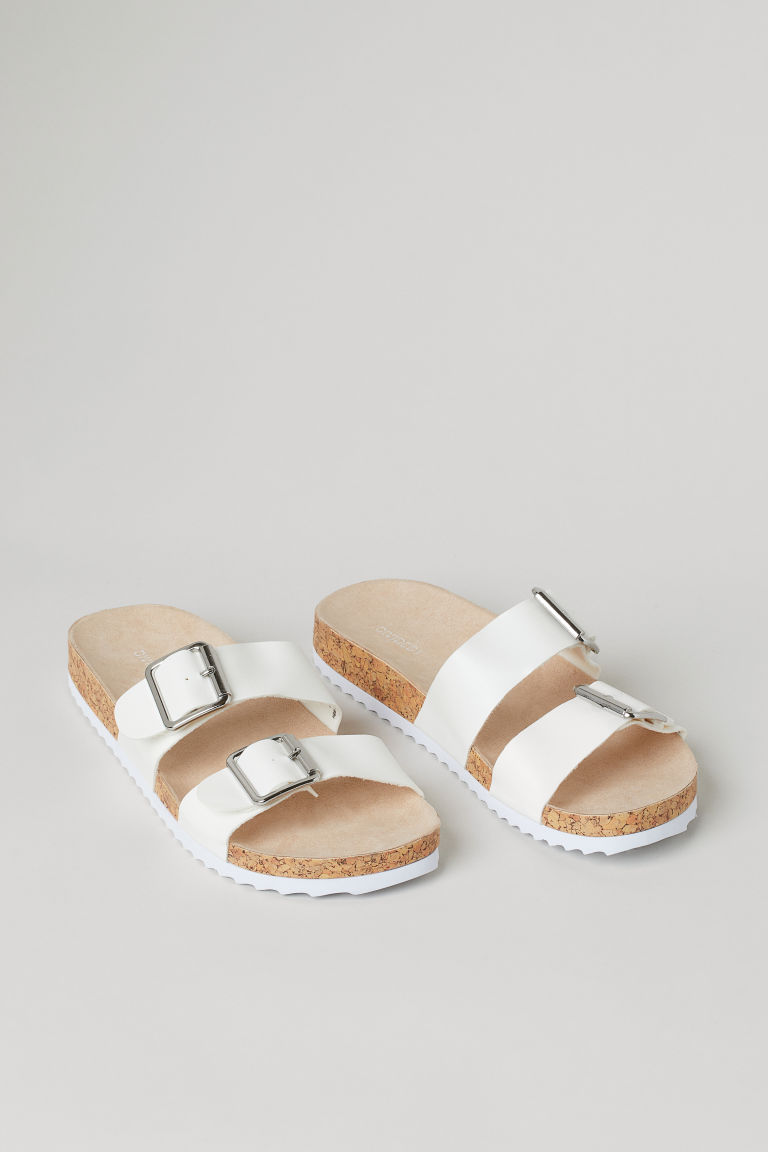 H & M - 懶人拖鞋 - 白色
