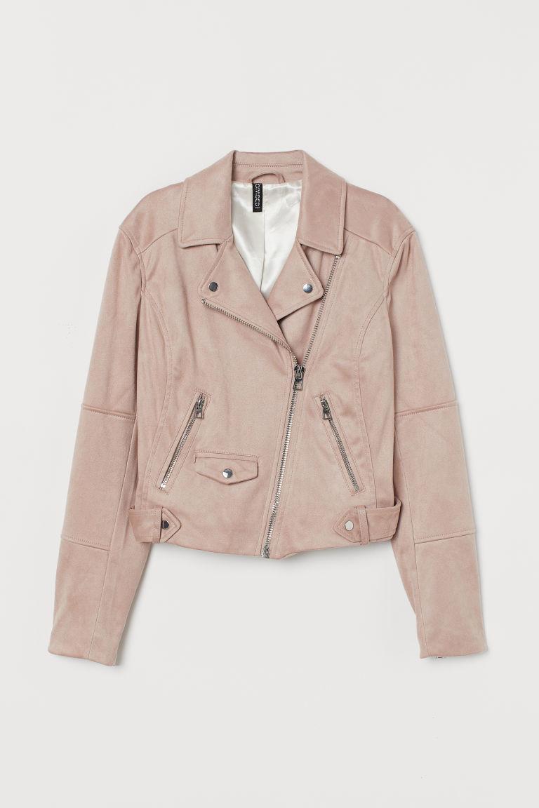 H & M - 仿麂皮騎士外套 - 粉紅色
