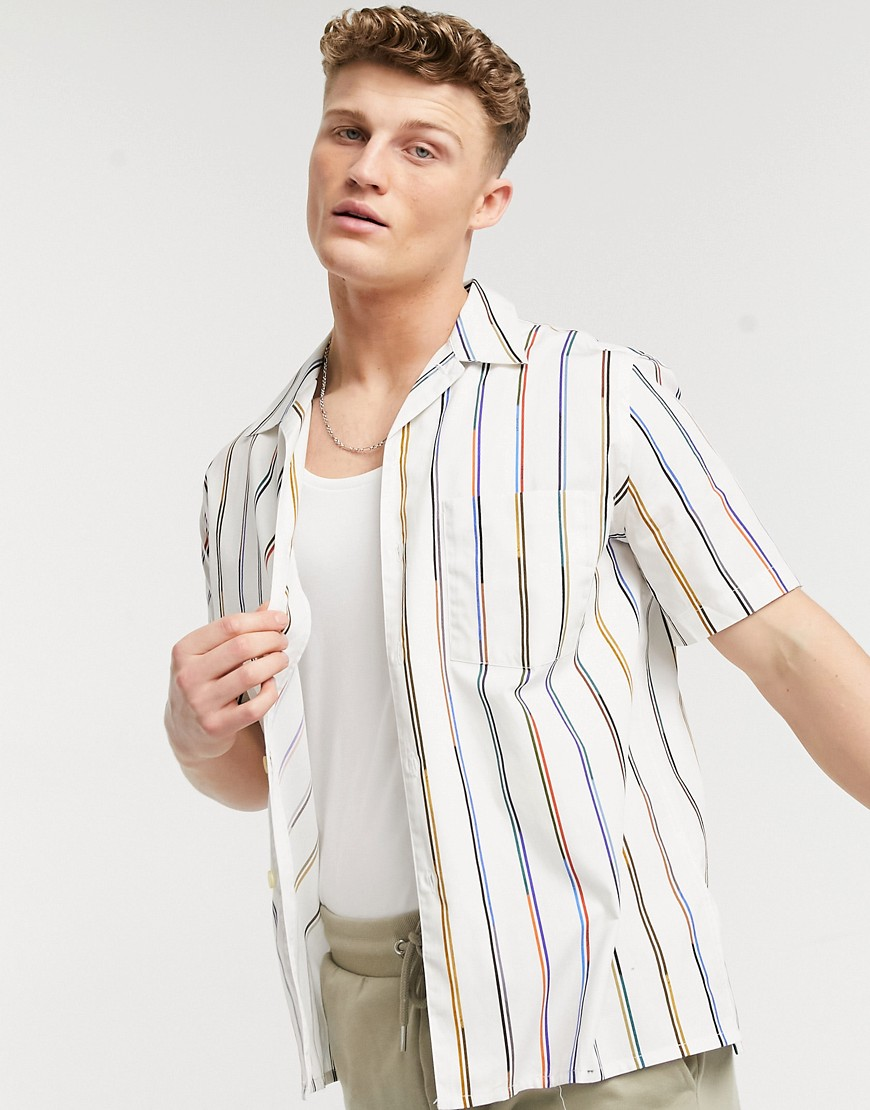 PS Paul Smith stripe short sleeve shirt with revere collar in white