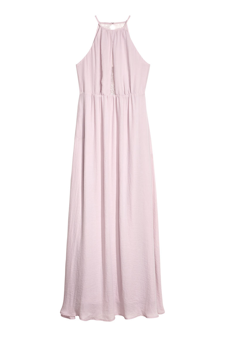 H & M - 蕾絲美背長洋裝 - 粉紅色