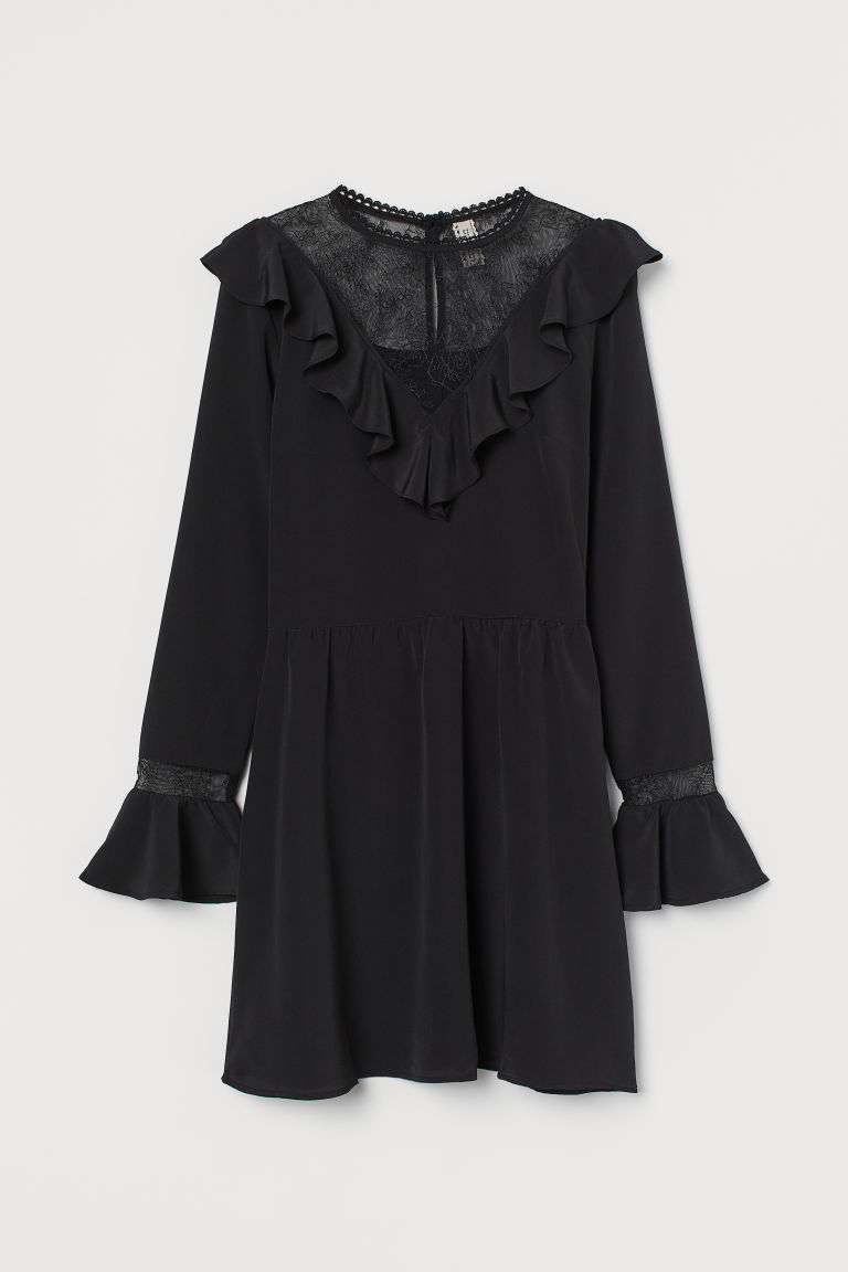 H & M - 蕾絲裝飾洋裝 - 黑色