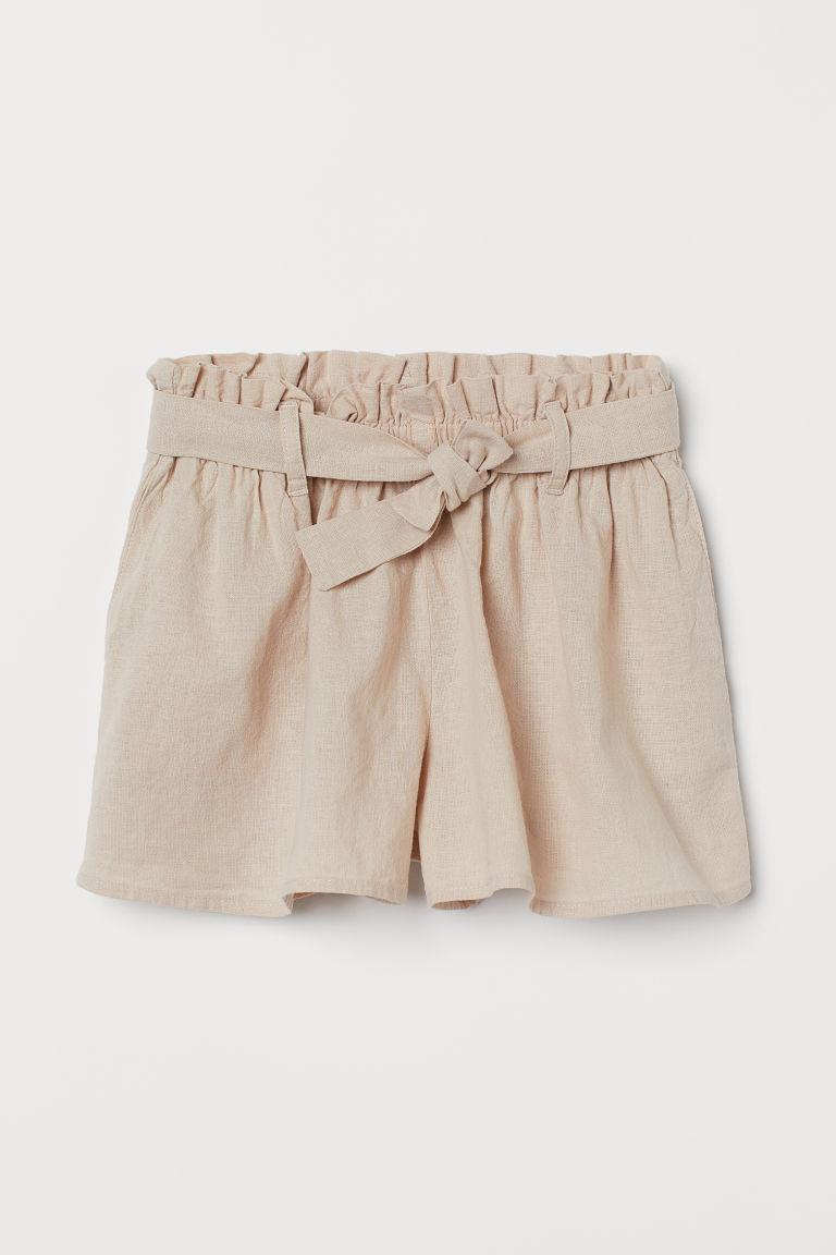 H & M - 亞麻混紡短褲 - 米黃色