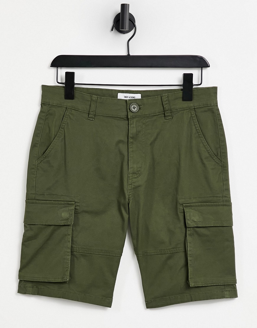 Only & Sons cargo shorts in khaki-Green