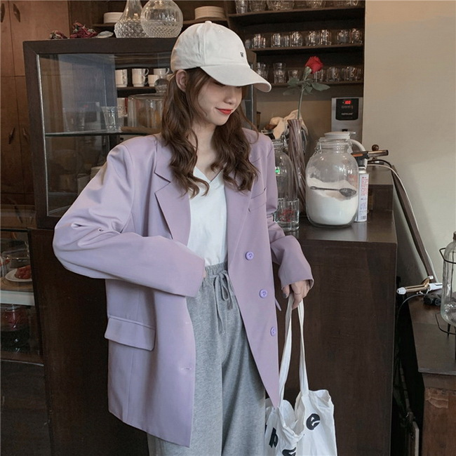 FOFU-網紅休閒西裝韓版復古寬鬆長袖外套簡約百搭西裝【08SG05830】