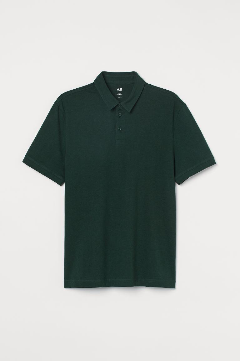 H & M - 貼身Polo衫 - 綠色