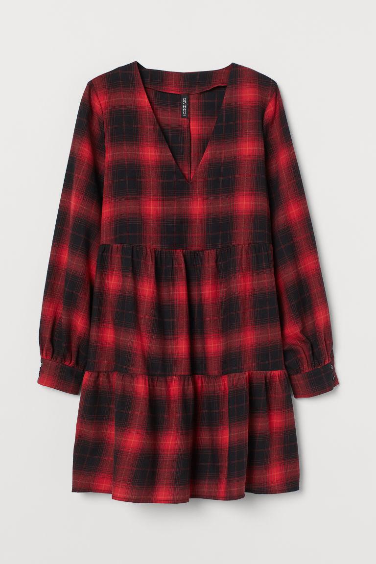 H & M - V領洋裝 - 紅色