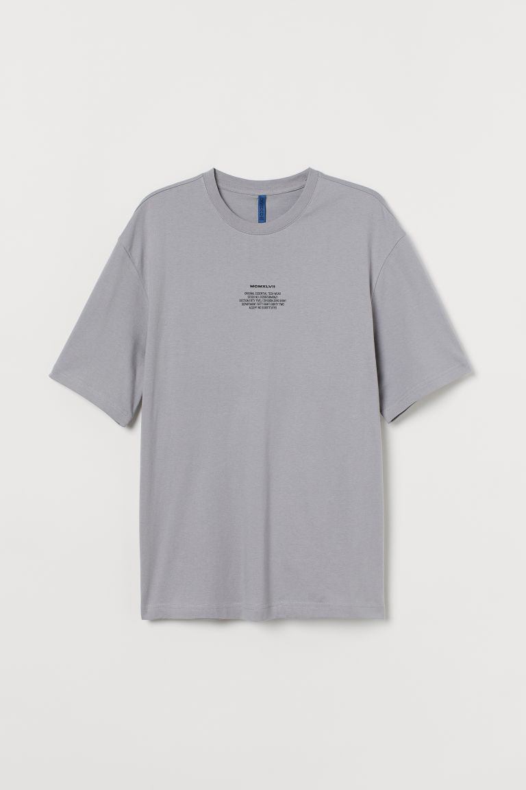 H & M - 休閒剪裁T恤 - 灰色