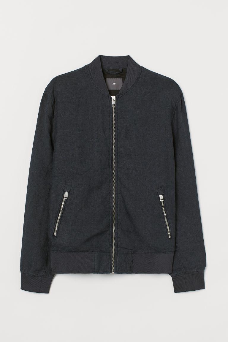 H & M - 亞麻飛行員外套 - 藍色