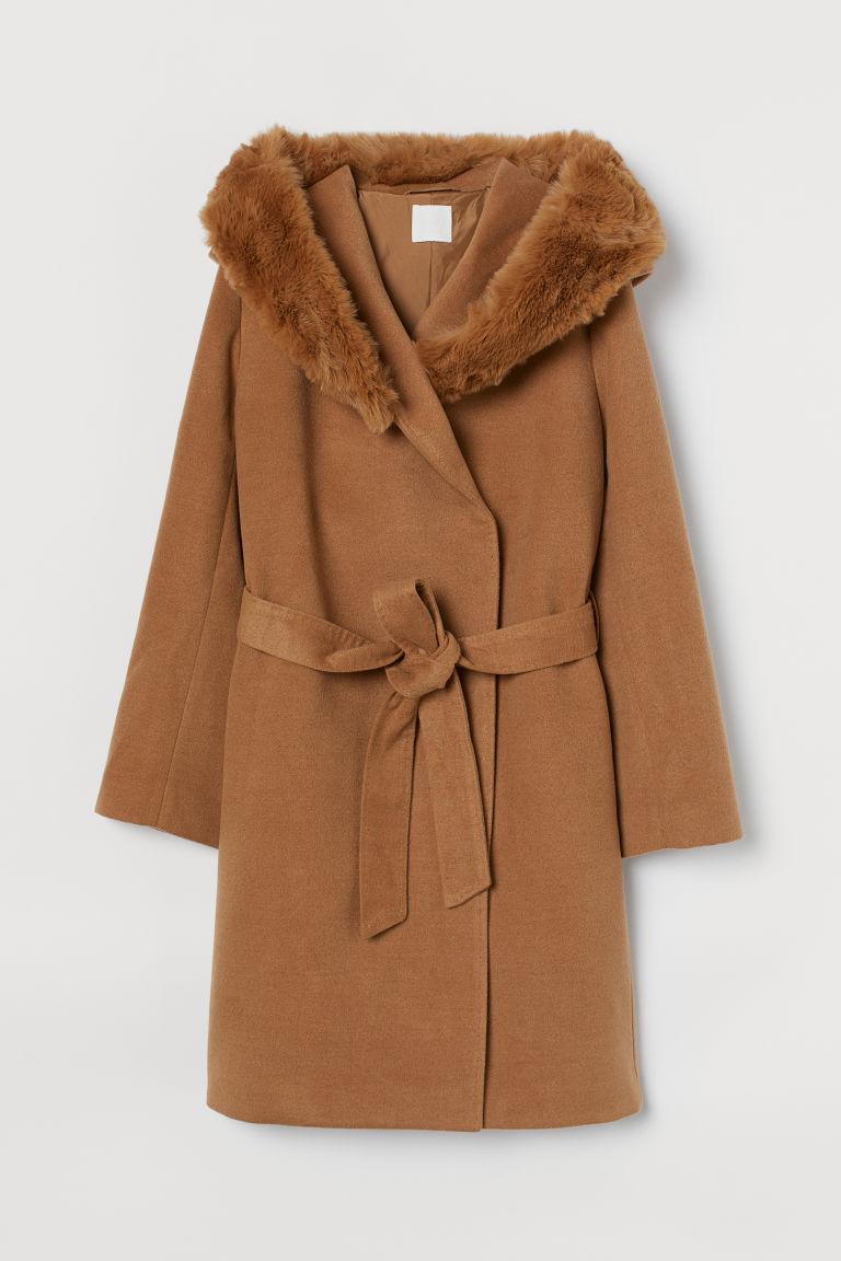 H & M - 連帽大衣 - 米黃色