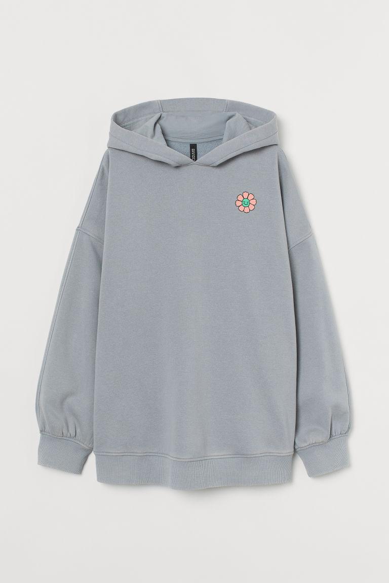 H & M - 圖案連帽上衣 - 灰色