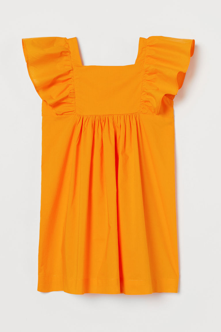 H & M - 荷葉邊洋裝 - 橙色