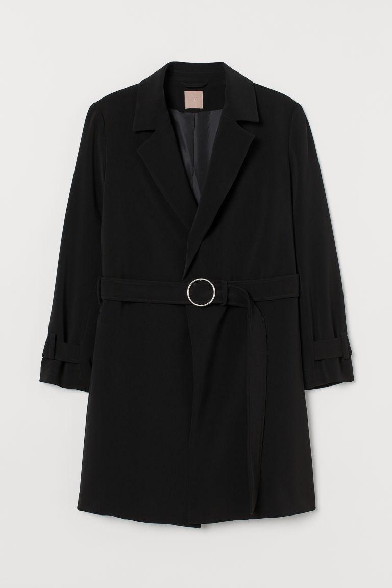 H & M - H & M+ 腰帶大衣 - 黑色