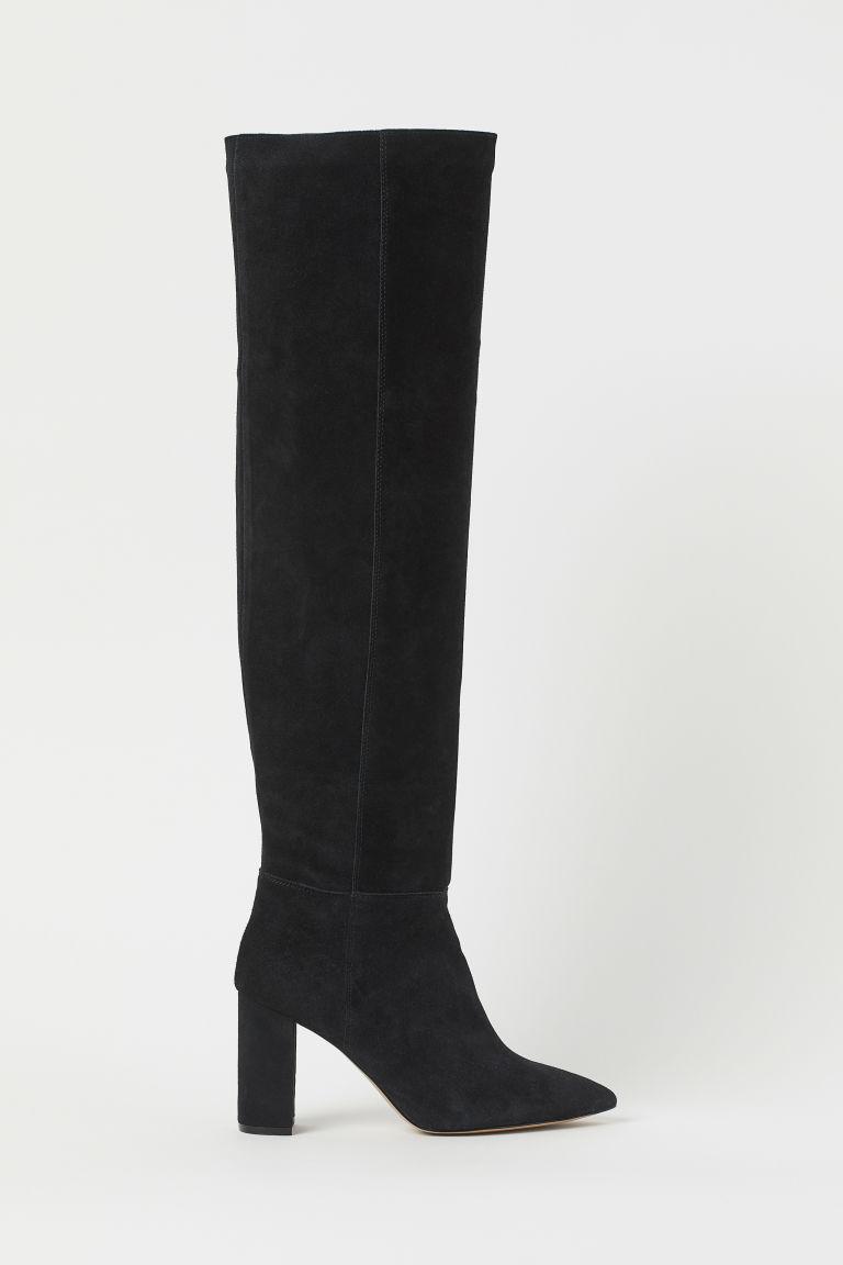 H & M - 麂皮及膝靴 - 黑色