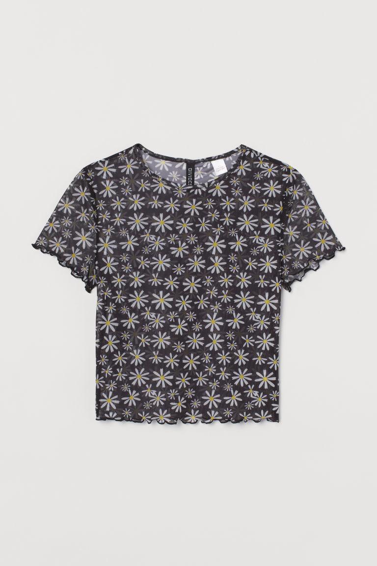 H & M - 短袖上衣 - 黑色