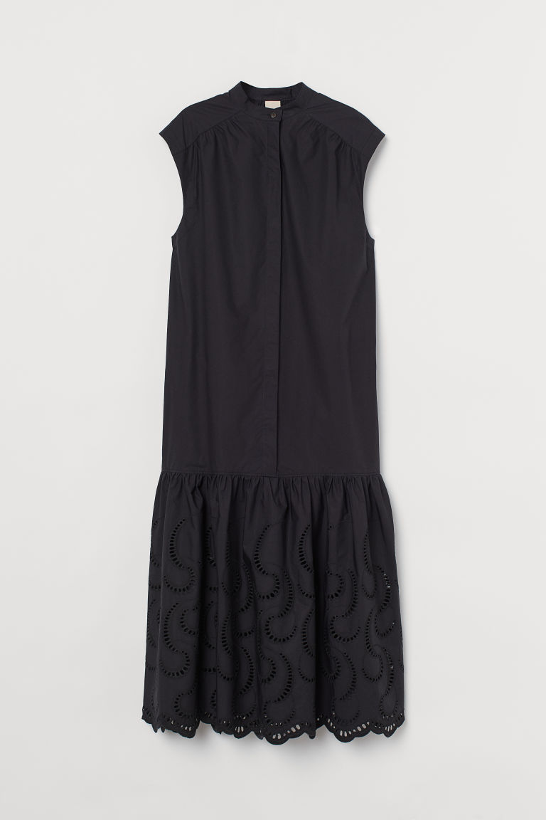 H & M - 英式鏤空刺繡洋裝 - 黑色