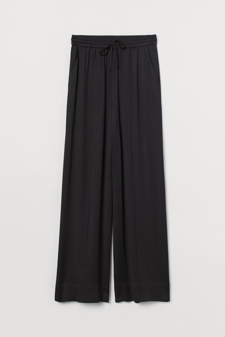 H & M - 真絲混紡寬管褲 - 黑色