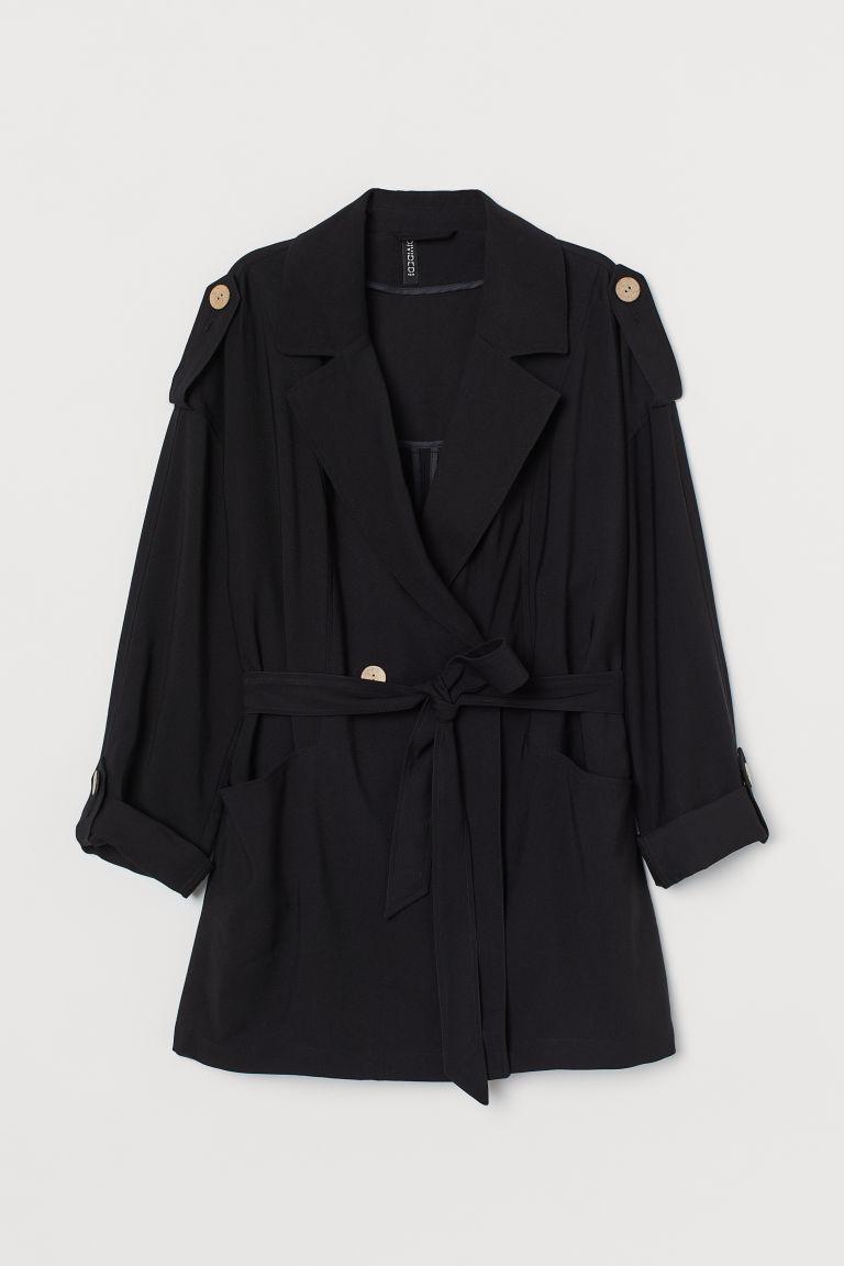 H & M - 短版風衣 - 黑色