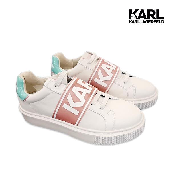 【KARL LAGERFELD】MAXI KUP寬帶KARL厚底運動鞋-粉/綠