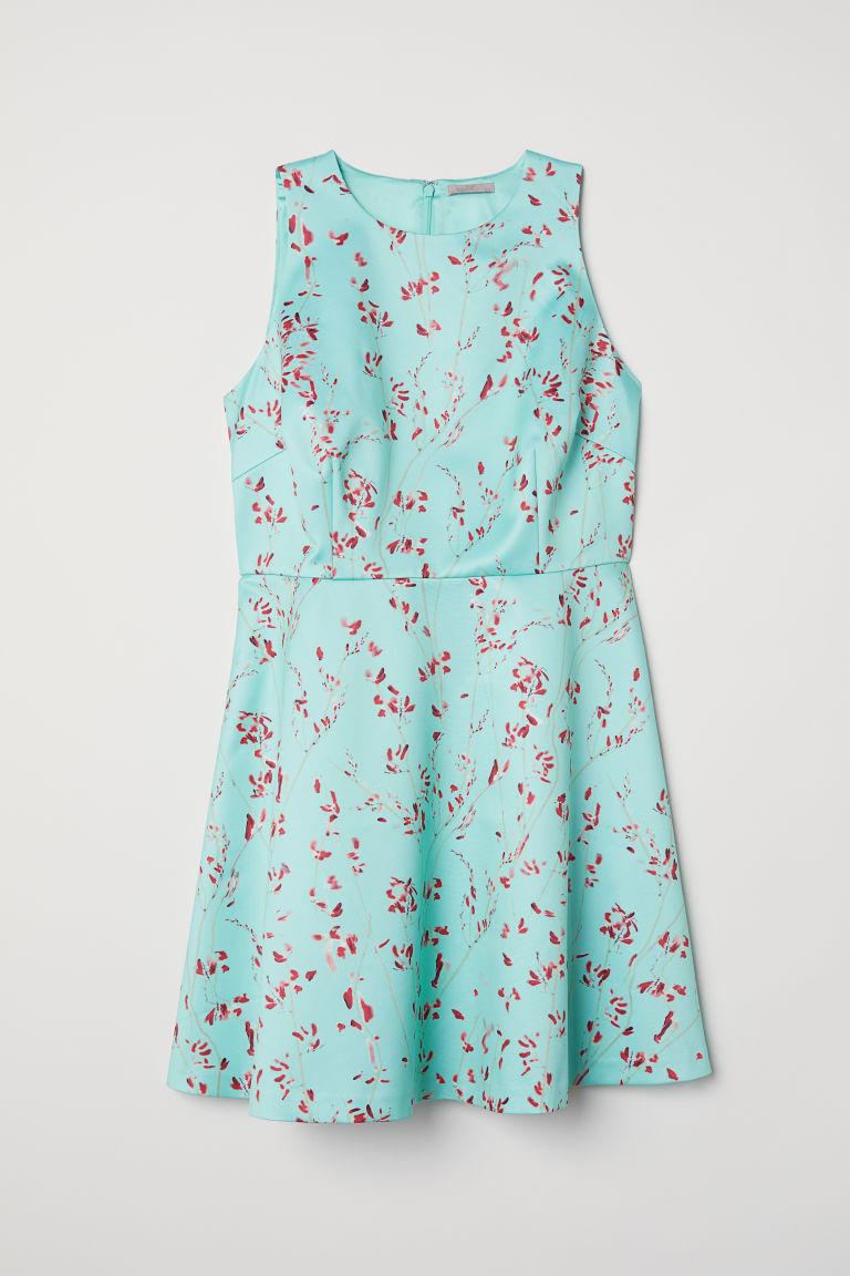 H & M - H & M+ 印花綢緞洋裝 - 綠色