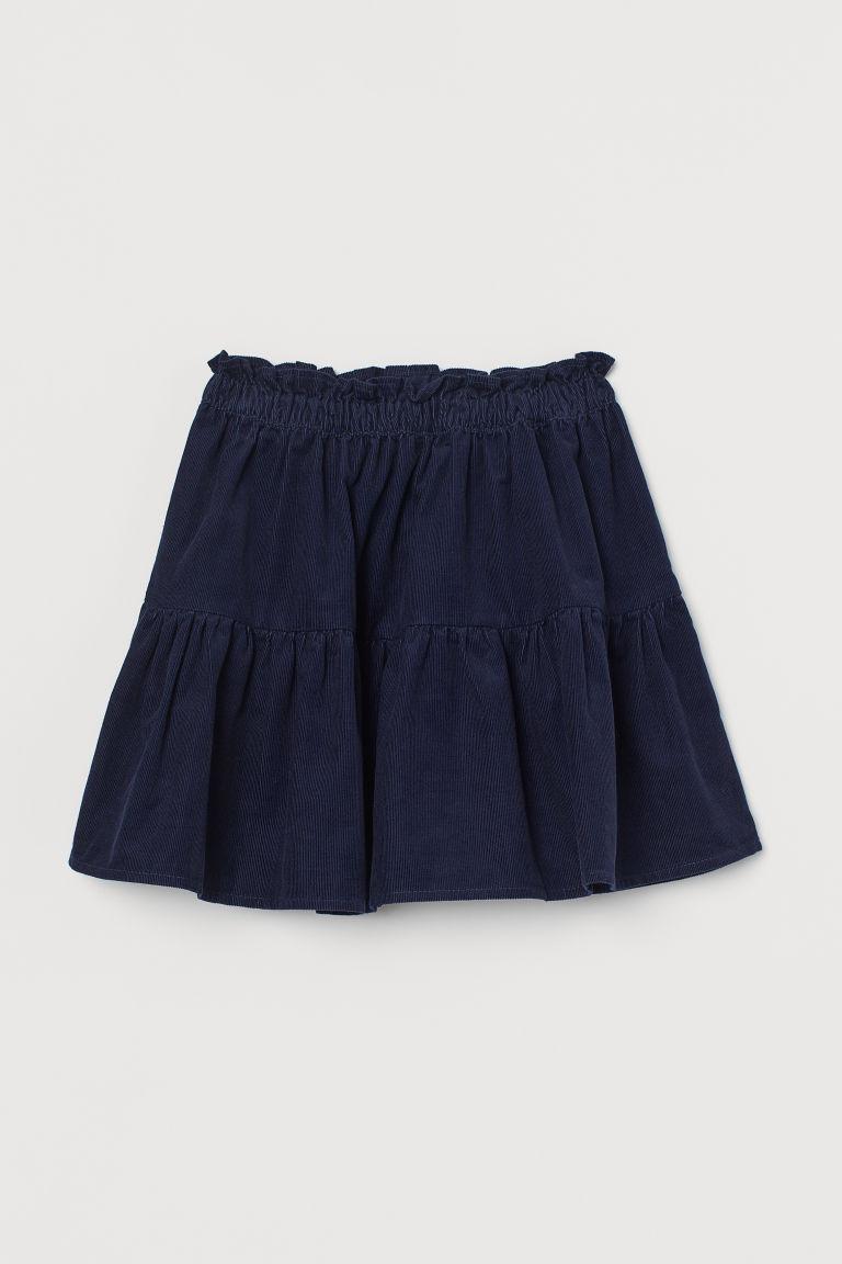 H & M - 絨布裙 - 藍色
