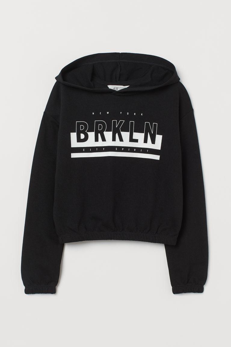 H & M - 方形剪裁連帽上衣 - 黑色