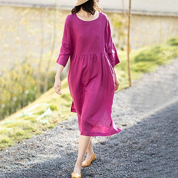 亞麻圓領七分袖連身裙 純色大擺A型洋裝-夢想家-0407