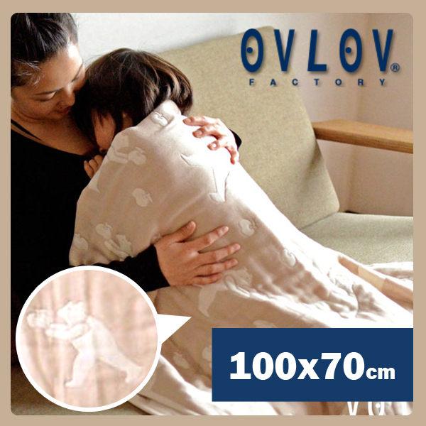 【結帳再9折】【彌月禮推薦】OVLOV 日本製六層紗小蓋被-熊和蘋果(米) C-BKT-4017-BG-S