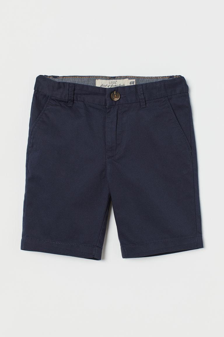 H & M - 棉質卡其短褲 - 藍色
