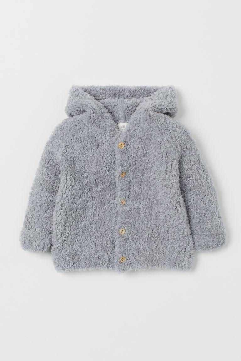 H & M - 羊毛混紡開襟衫 - 灰色