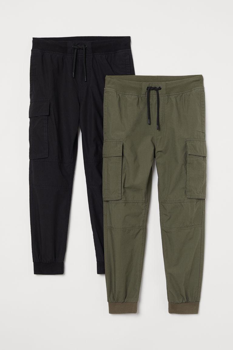 H & M - 2件入工作慢跑褲 - 黑色