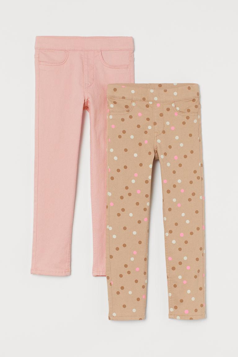 H & M - 2件入斜紋緊身褲 - 米黃色