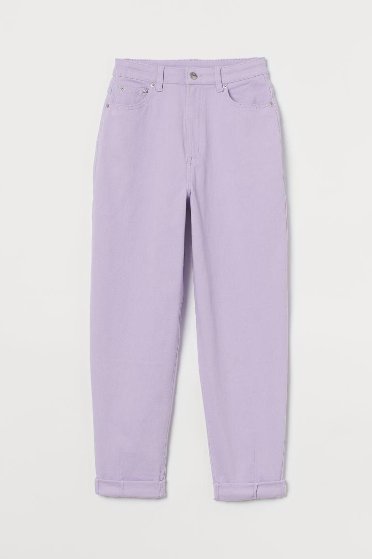H & M - 老媽寬鬆斜紋長褲 - 紫色