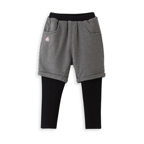 【網路獨家款】les enphants 千鳥紋假兩件長褲(灰色)