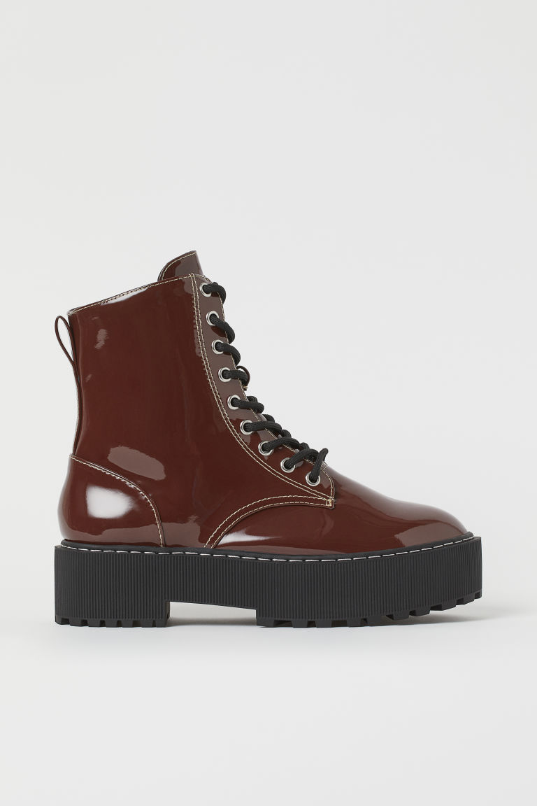 H & M - 厚底靴 - 米黃色