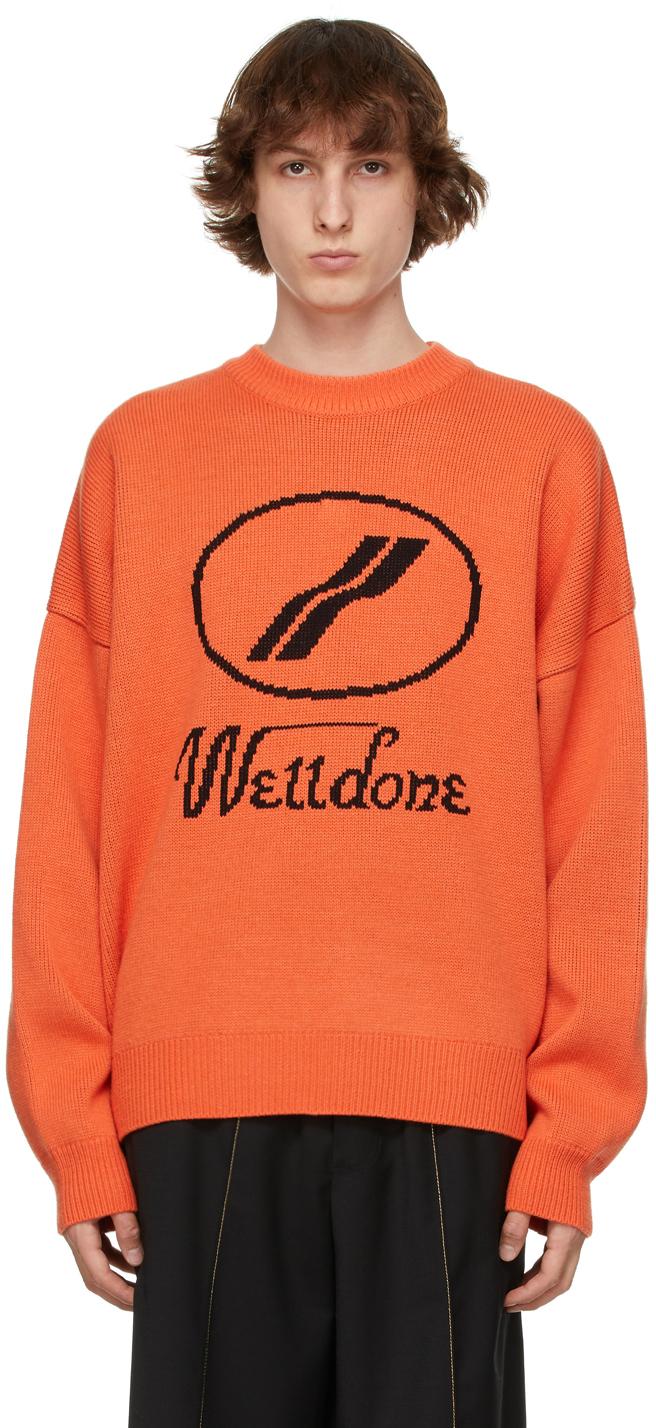 We11done 橙色提花徽标毛衣