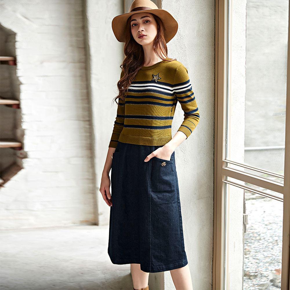 ILEY伊蕾 條紋織蔥針織拼接牛仔洋裝(藍)056754