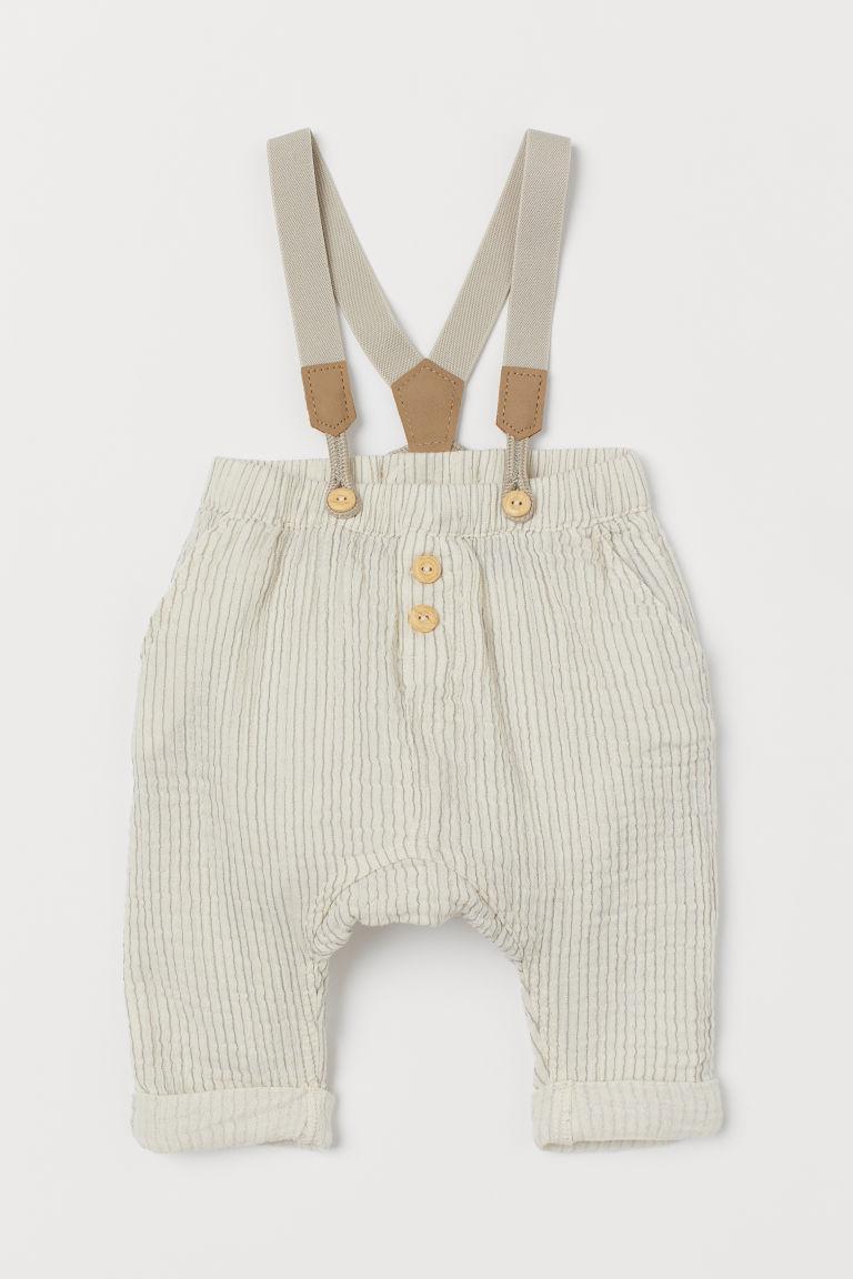 H & M - 吊帶棉質長褲 - 灰色
