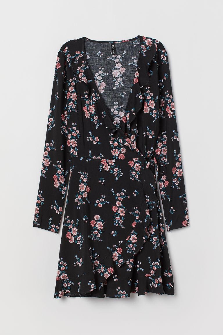 H & M - 荷葉邊交疊式洋裝 - 黑色
