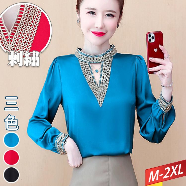 刺繡鏤空V立領純色上衣(3色) M~2XL【414541W】【現+預】-流行前線-