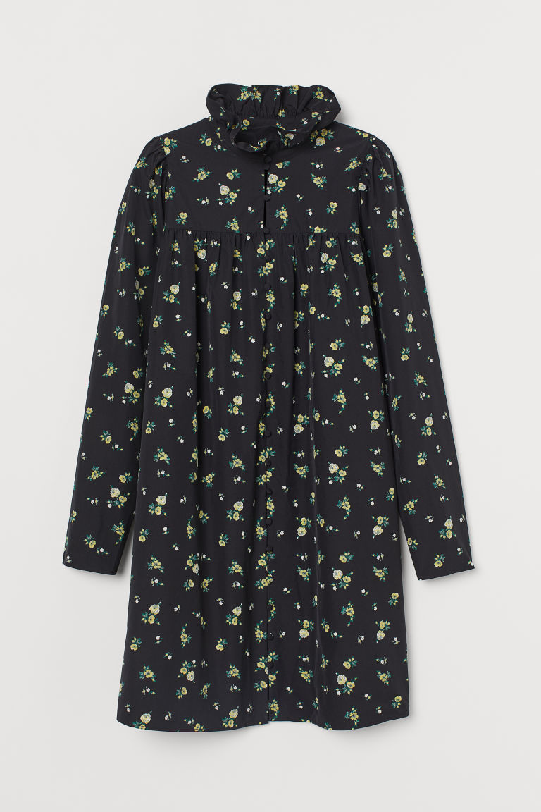 H & M - 荷葉領洋裝 - 黑色