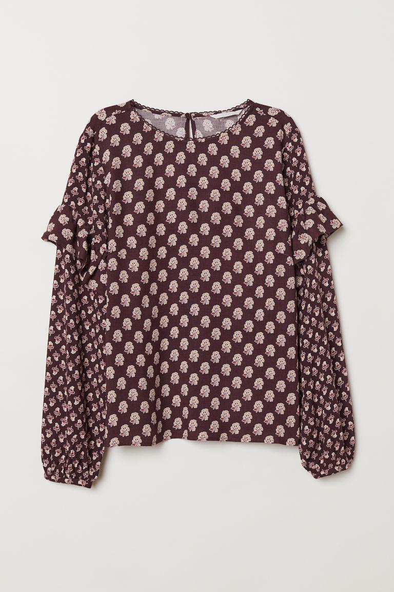 H & M - 荷葉邊嫘縈女衫 - 粉紅色