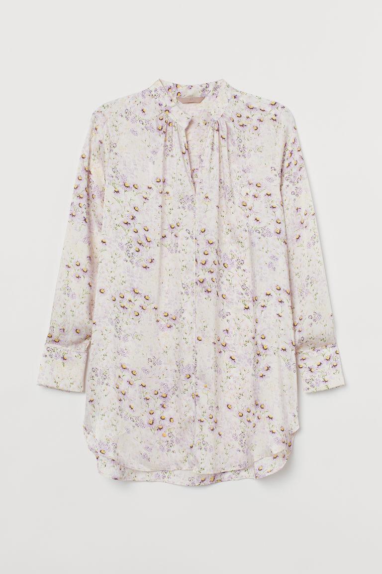 H & M - H & M+ 長版綢緞女衫 - 米黃色