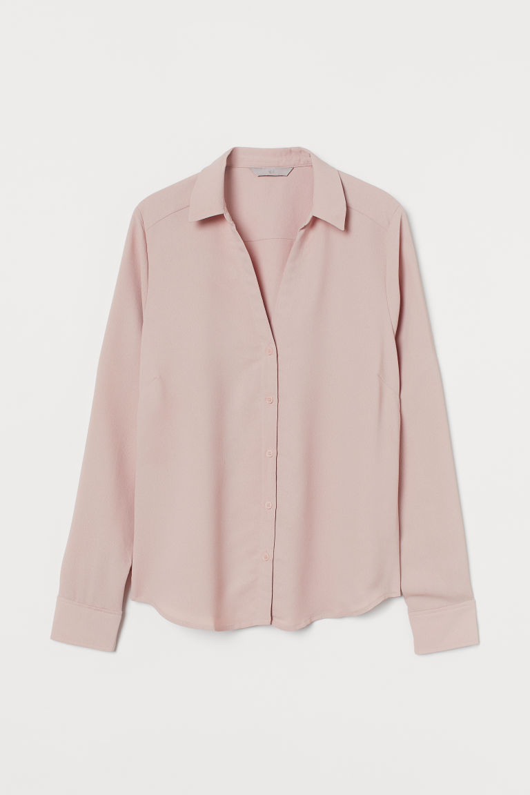H & M - V領女衫 - 粉紅色