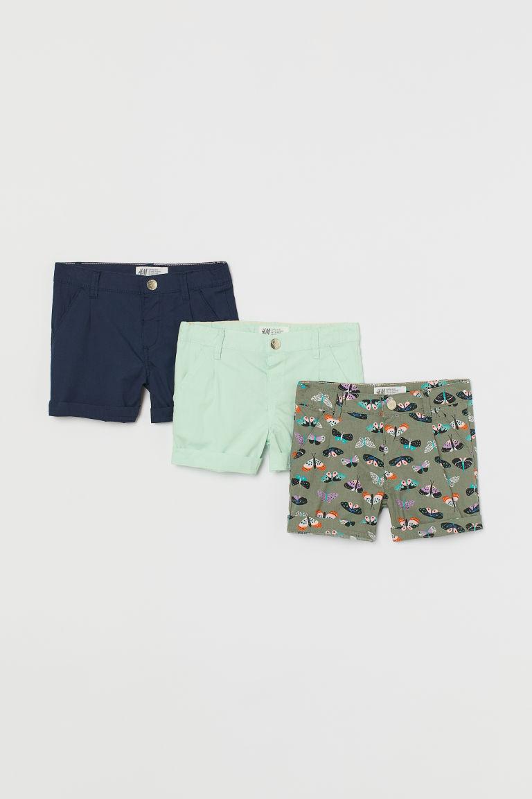 H & M - 3件入棉質短褲 - 綠色