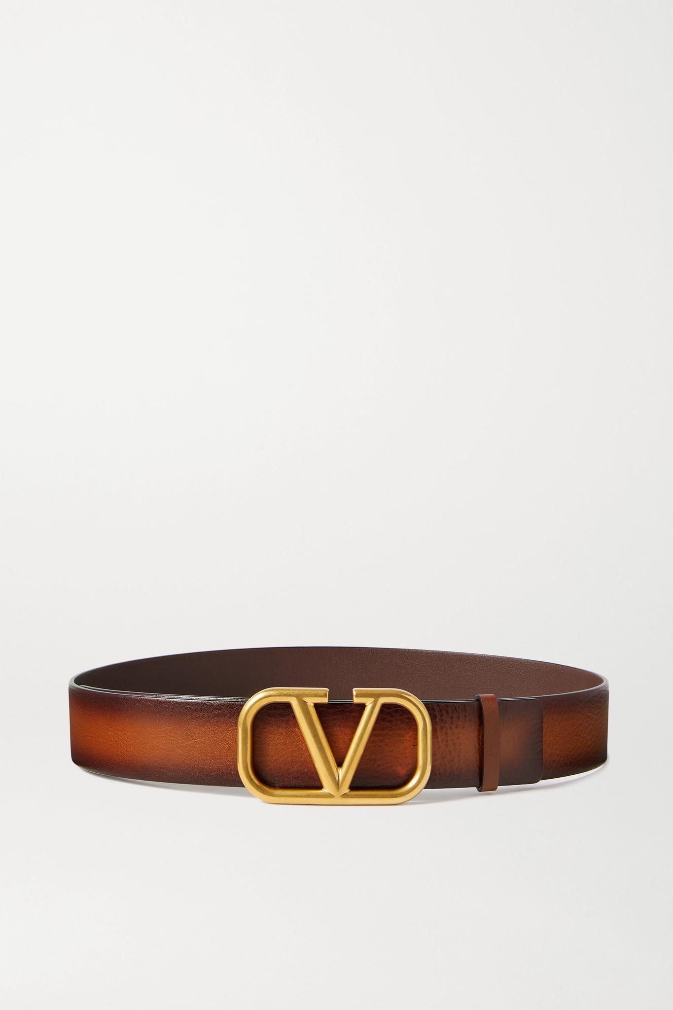 VALENTINO - Valentino Garavani Vlogo Leather Belt - Brown - 80