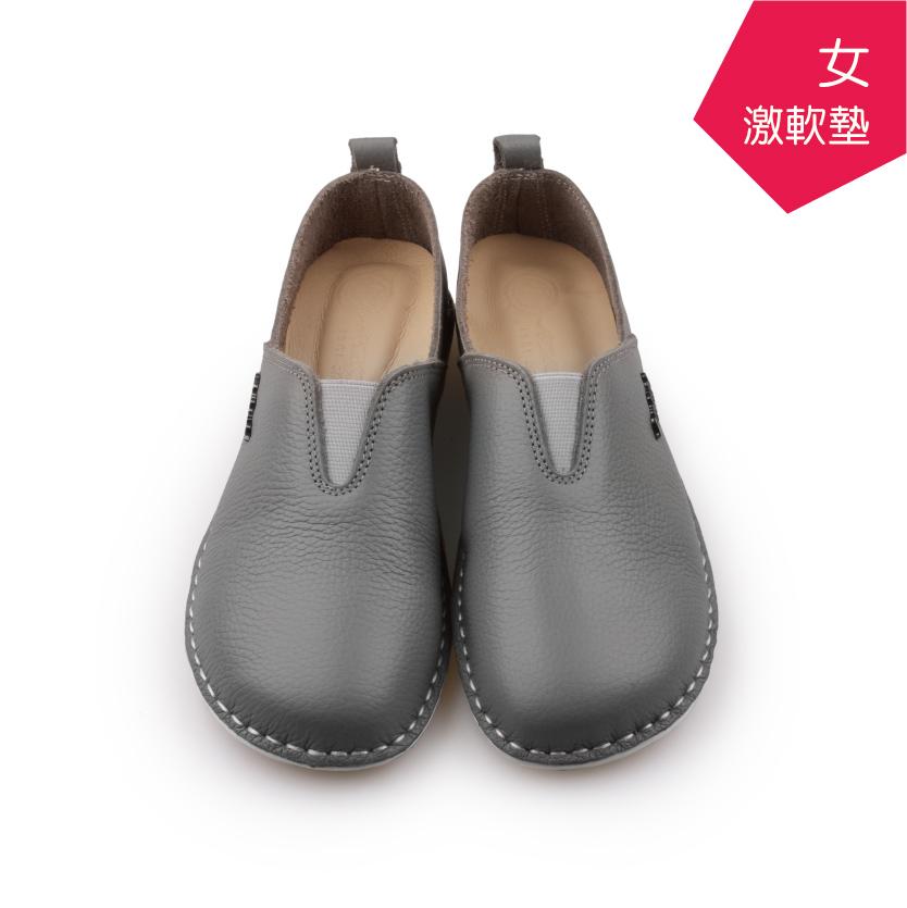 【A.MOUR 經典手工鞋】頂級牛革饅頭鞋 - 貓柳灰(2506)