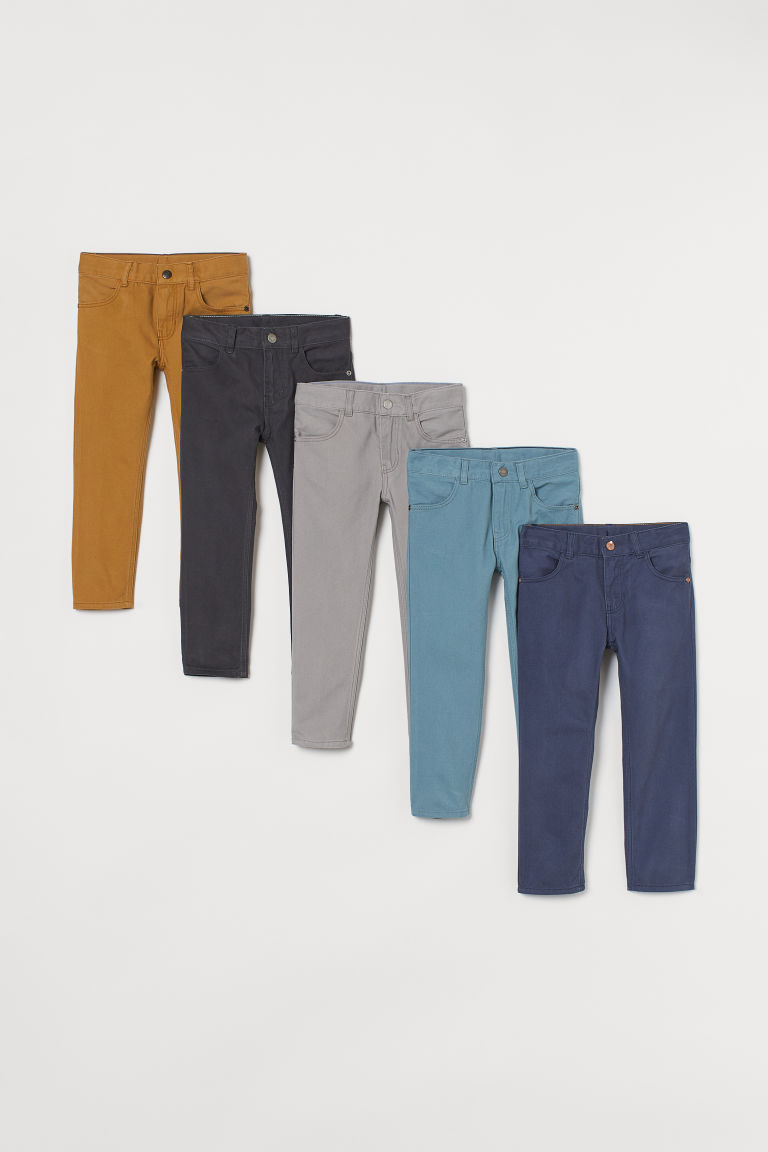 H & M - 5件入貼身斜紋長褲 - 藍色