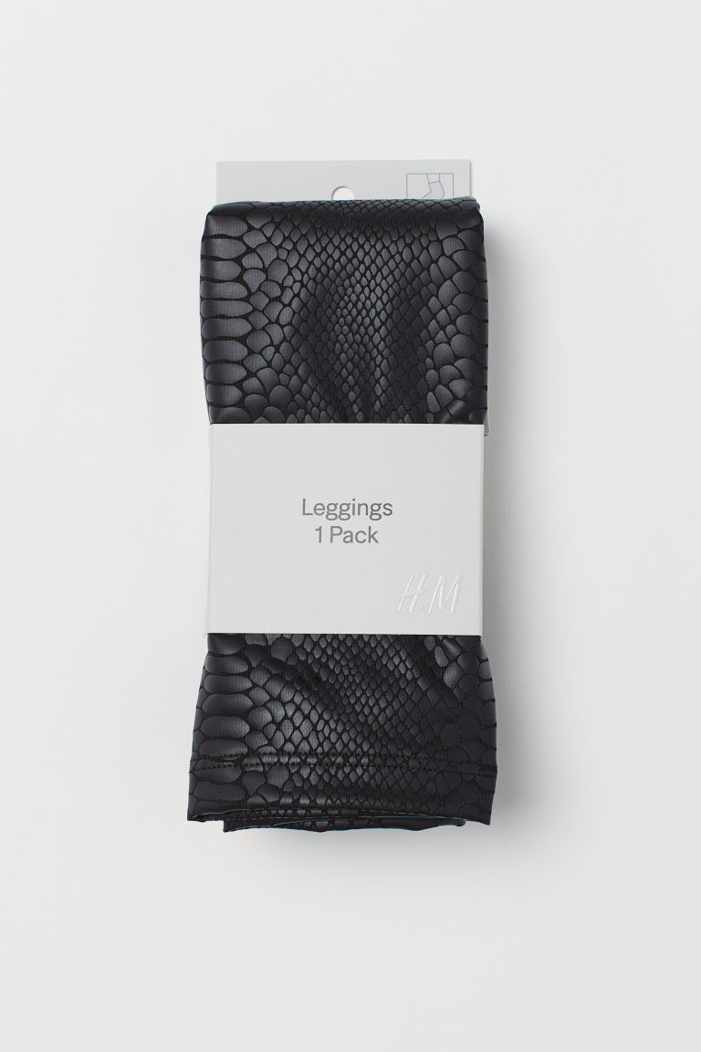 H & M - 蛇紋內搭褲 - 黑色