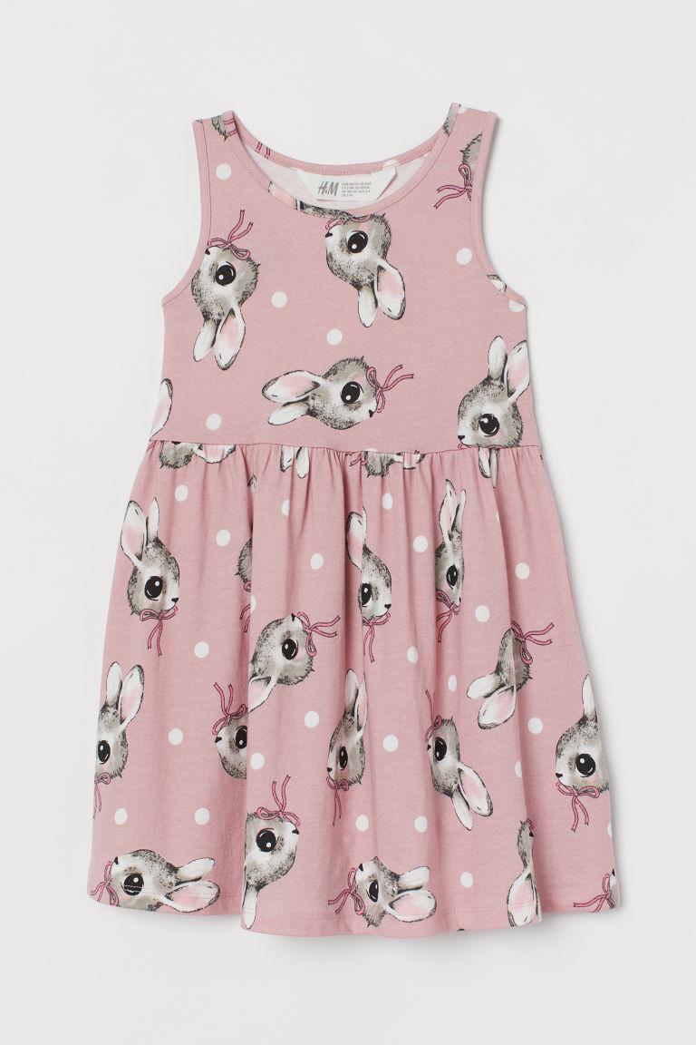 H & M - 印花平紋洋裝 - 粉紅色