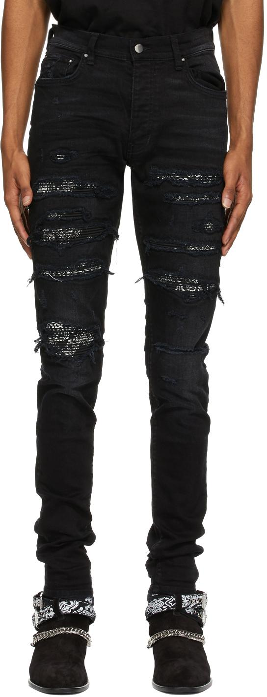 AMIRI 黑色 Bandana Thrash 牛仔裤